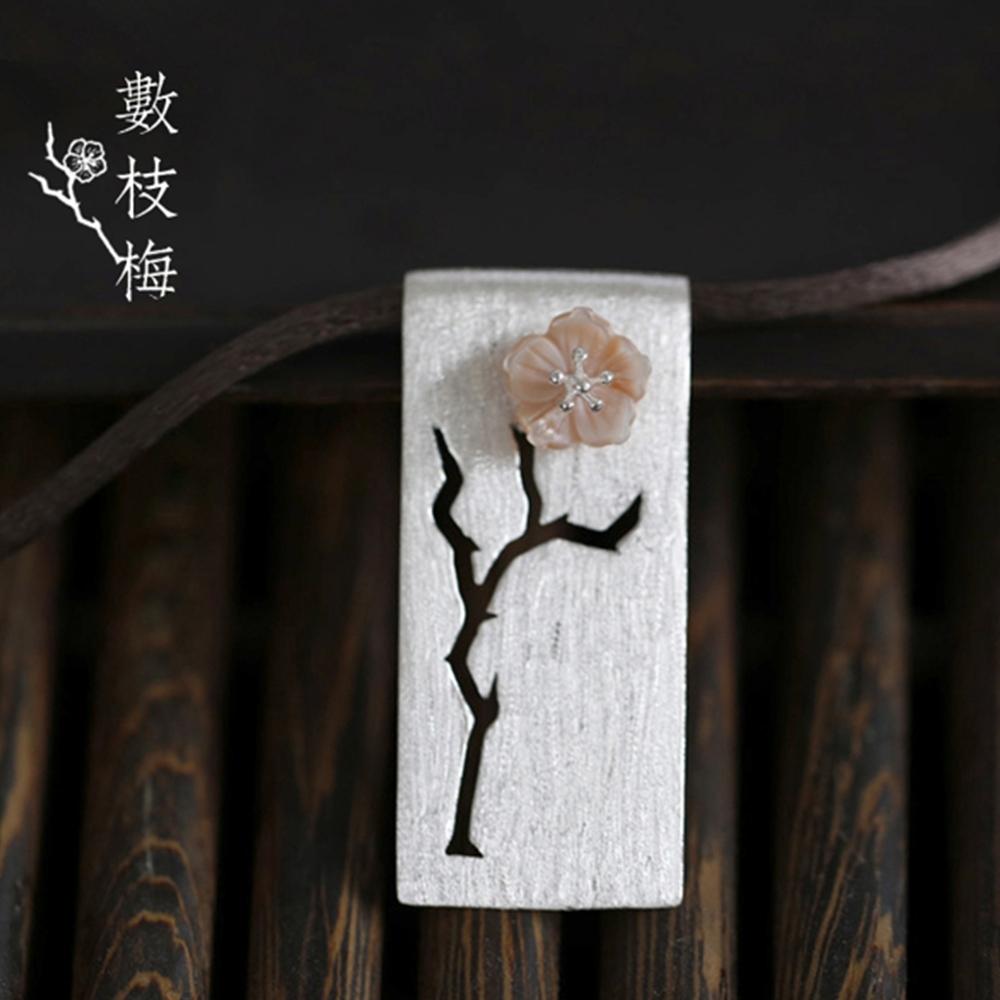 東方美學純銀鑲粉貝鏤空梅花枝真絲項鍊花朵可動-設計所在