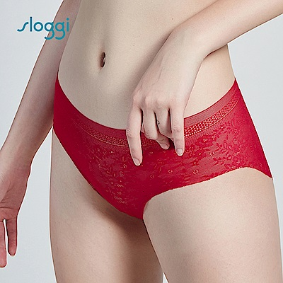 sloggi Zero Lace 零感蕾絲平口褲  鮮紅色