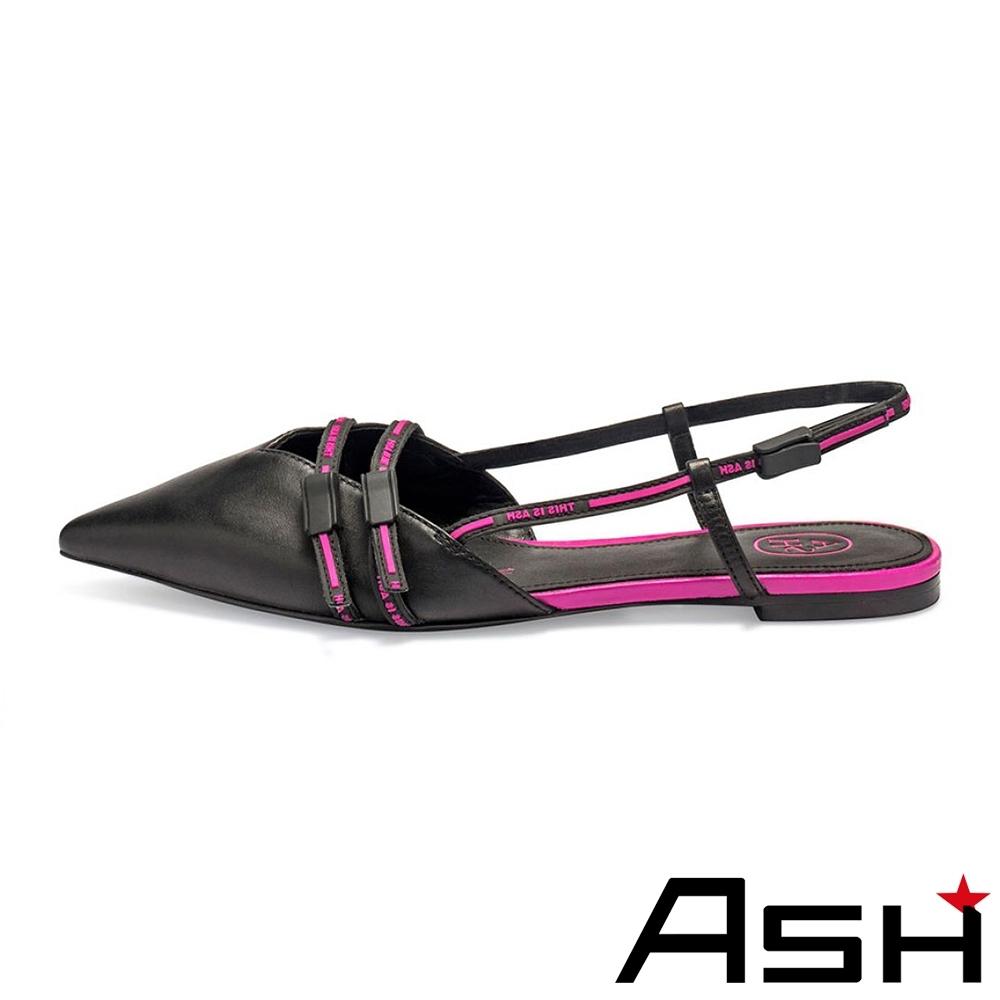 ASH-DELIGHT尖頭深v斜口休閒平底涼鞋-粉黑