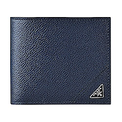 經典三角銀鐵牌LOGO牛皮8卡對折短夾