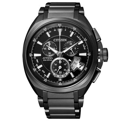 CITIZEN 錶現自我光動能鈦金屬腕錶(黑)-ATD53-3012