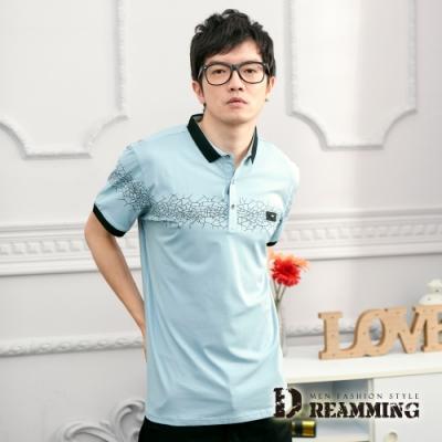 Dreamming 日系裂紋線條萊卡彈力短POLO衫-共二色