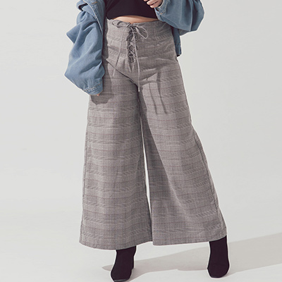 AIR SPACE PLUS 交叉綁帶設計復古格紋長褲(黑白格)