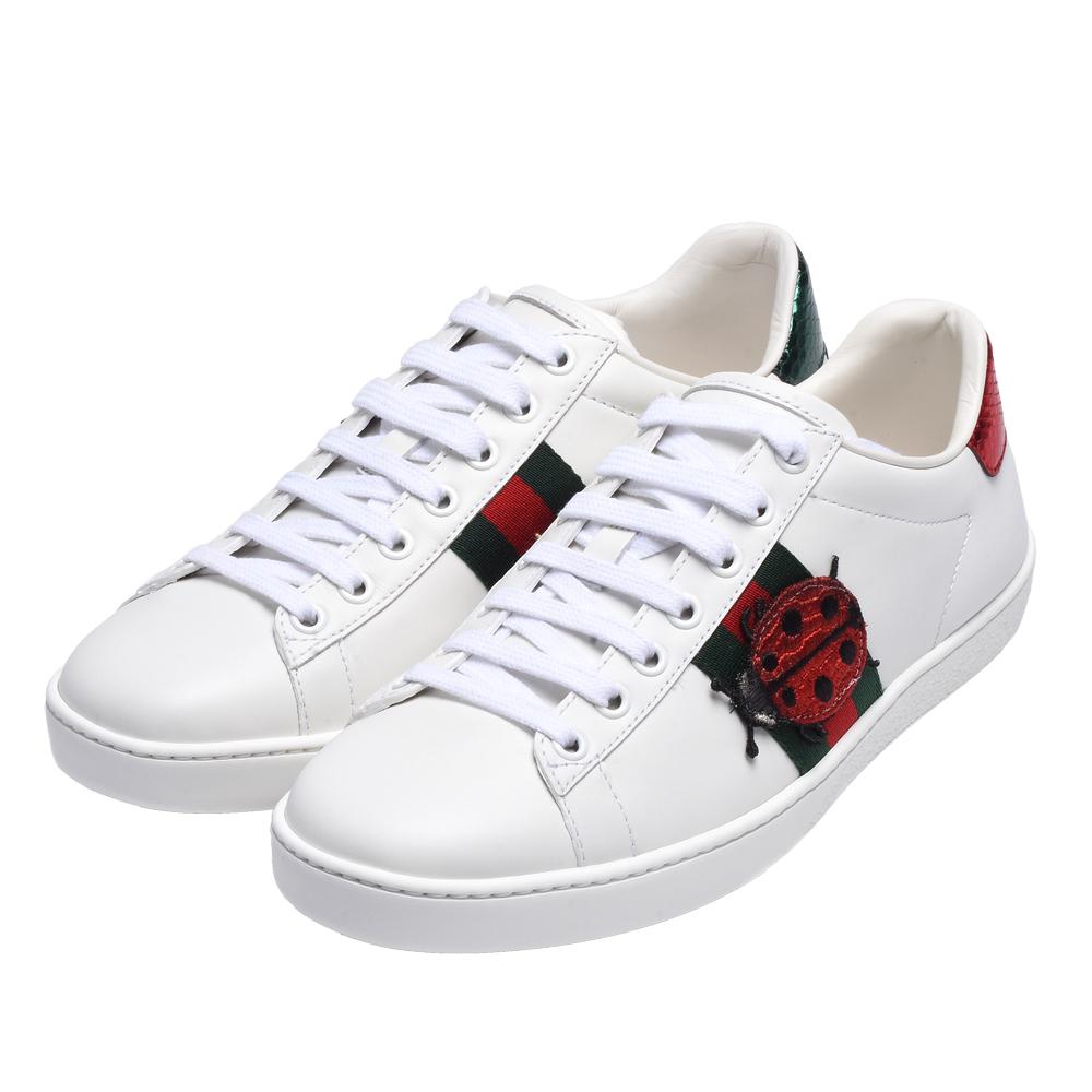 GUCCI Ace系列鳳梨瓢蟲圖案牛皮綠紅綠織帶休閒鞋(白)