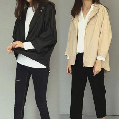 【韓國K.W.】(預購) 輕柔美學輕薄涼感風衣防曬外套