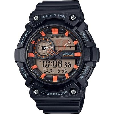 CASIO 世界時間指針數位雙顯錶款-黑X橘(AEQ-200W-1A2)/51mm