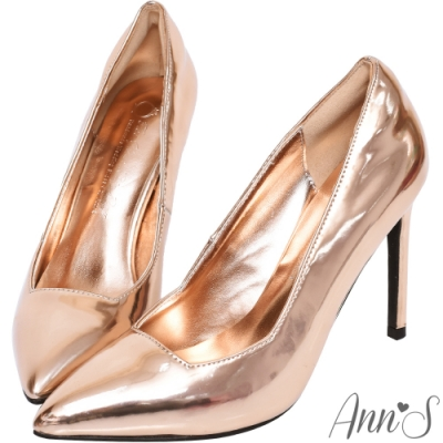 Ann'S俐落美型-質感素面漆皮光感高跟尖頭鞋-玫瑰金