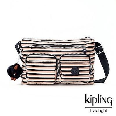 Kipling簡約條紋密橙側背包(中)