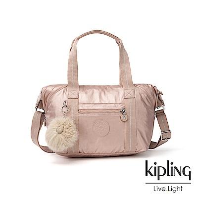 Kipling 金屬光暈微醺粉手提側背包-ART MINI
