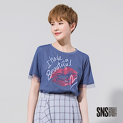 SNS 搖滾不羈塗鴉網紗假兩件式T恤(2色)