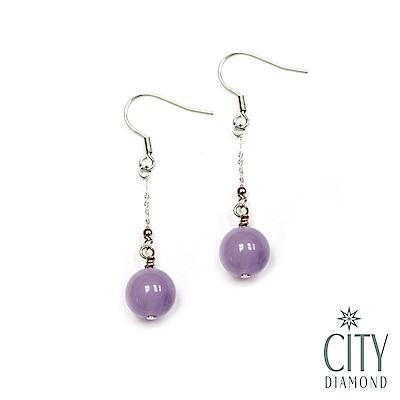 City Diamond引雅【手作設計系列】天然紫水晶長掛垂式耳環