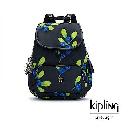 Kipling x HELEN LEE聯名款-酸甜藍莓圖騰拉鍊掀蓋後背包-CITY PAC