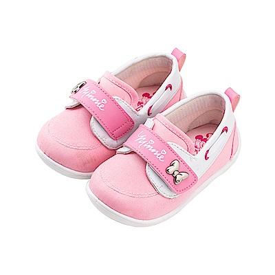 迪士尼童鞋 米妮 魔鬼氈可愛飾扣寶寶鞋-粉