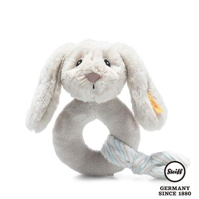 STEIFF德國金耳釦泰迪熊  Hoppie Rabbit Grip Toy with Rattle 灰色小兔子(嬰幼兒手搖鈴)