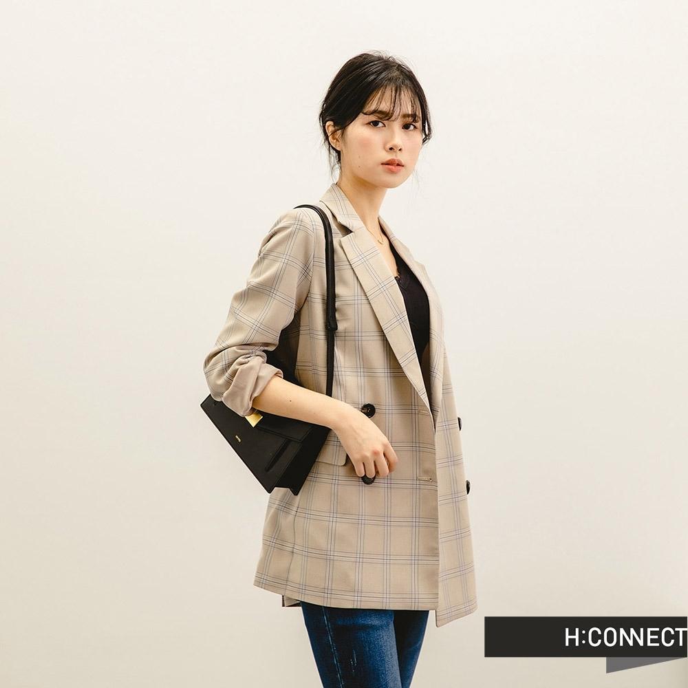 H:CONNECT 韓國品牌 女裝 -優雅格紋翻領西裝外套-卡其色