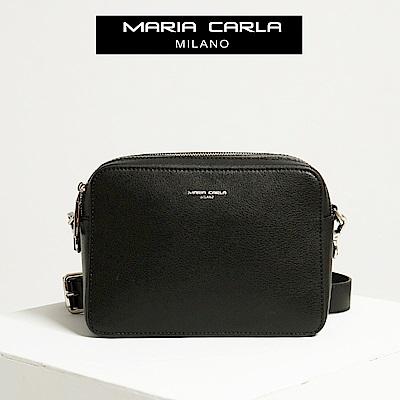 【Maria Carla】墨黑_拉鏈式雙夾層側背包_日光休閒_二層牛皮