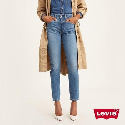 Levis 女款 501Skinny高腰排釦修身窄管牛仔長褲 精工中藍染水洗 彈性布料