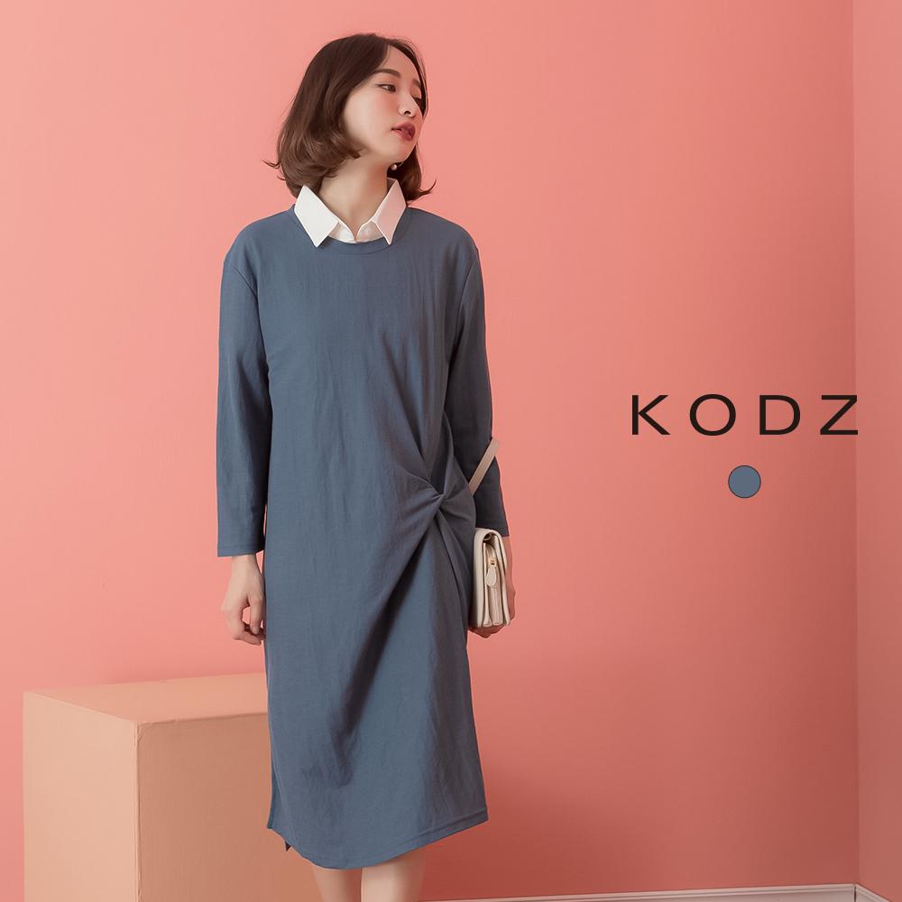東京著衣-KODZ 甜美慵懶腰抓皺造型開叉長版上衣-S.M.L