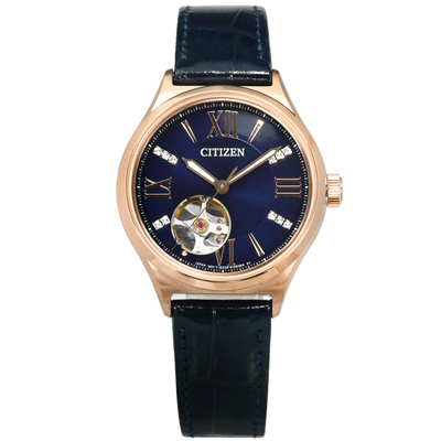 CITIZEN 星辰表 自動上鍊施華洛世奇水晶機械錶真皮手錶-藍x玫瑰金框/34mm