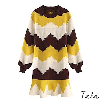 撞色紋縮口袖針織洋裝 共二色 TATA