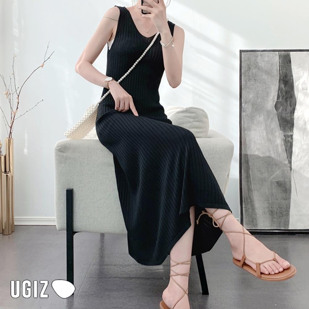 UGIZ-顯瘦V領素色坑條針織造型洋裝-5色(F)