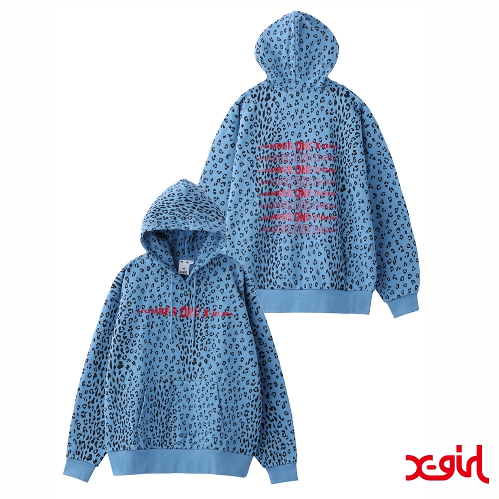 X-girl #1 LEOPARD SWEAT HOODIE連帽上衣-藍 product image 1