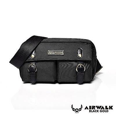 【AIRWALK】黑金系列 時光行者迷你側背包-黑