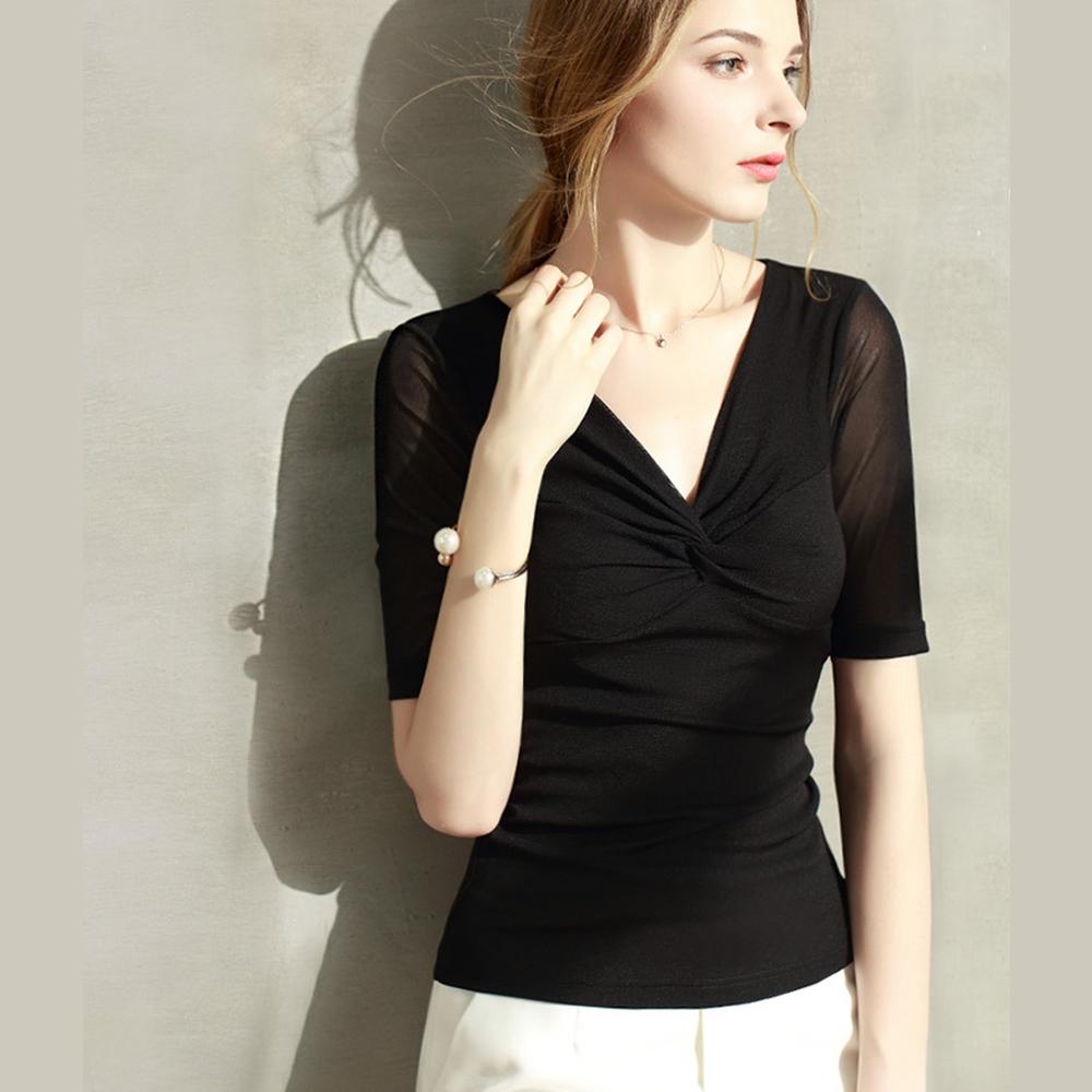 專注內搭-交叉V領內搭衫素色短袖T恤網紗上衣(四色S-3XL可選)