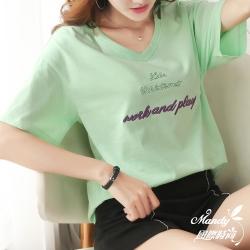 Mandy國際時尚 V領字母刺繡假兩件T恤_預購【韓國服飾】