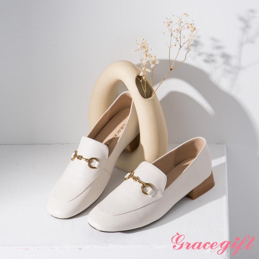 Grace gift-微方頭馬銜鍊樂福鞋 白