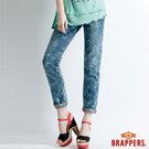 BRAPPERS 女款 Boy Friend Jeans系列-3D反摺直筒褲-淺藍雪花