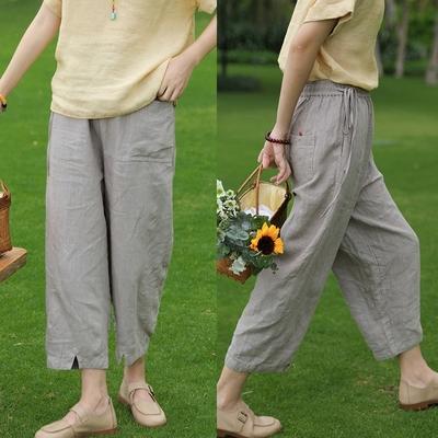 17支日本進口純亞麻直筒休閒褲寬鬆-設計所在