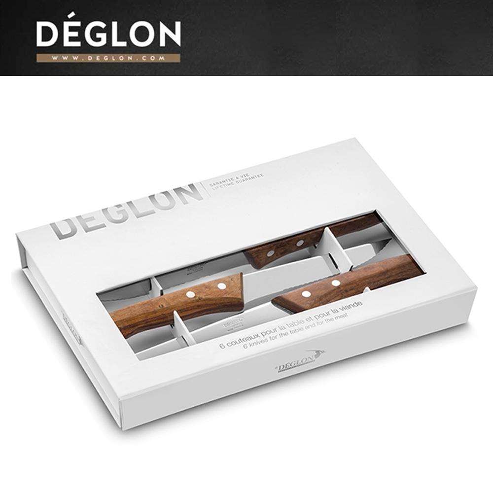 Deglon牛排刀-法式楓木把牛排刀6件禮盒