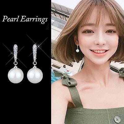 梨花HaNA 無耳洞維多利亞的純淨微鑲夾式珍珠耳環