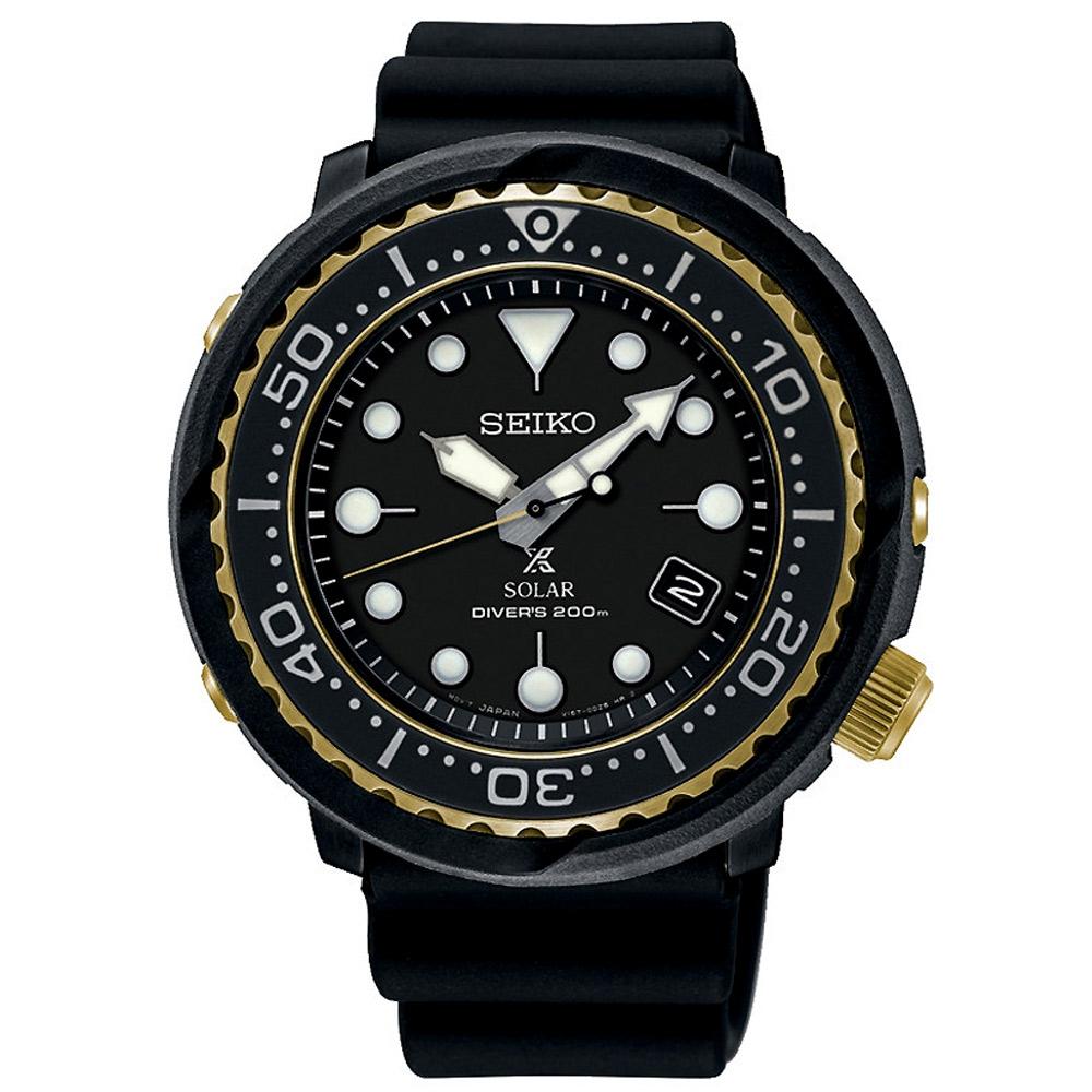 SEIKO 精工 Prospex太陽能兩百米潛水手錶SNE498P1-黑/47mm