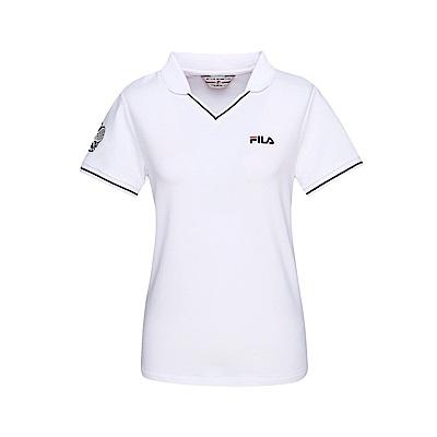 FILA 女款短袖POLO衫-白色 5POT-1458-WT