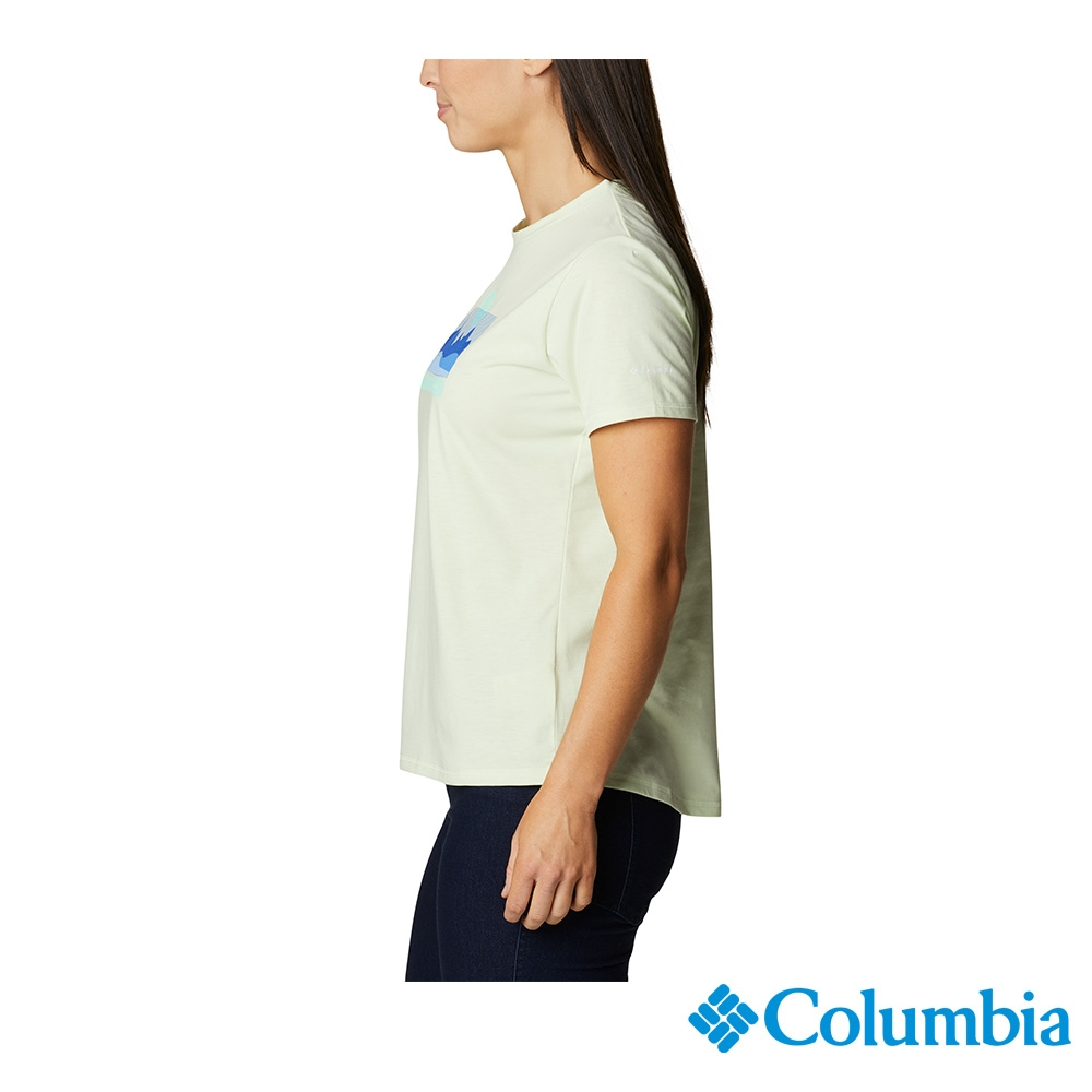 Columbia 哥倫比亞 女款- UPF50快排LOGO短袖上衣-5色  UAR21910 (薄荷綠)