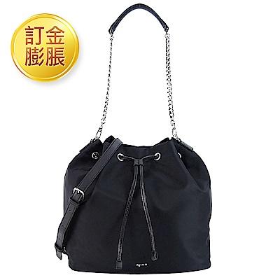 [限訂金膨脹購買]金屬LOGO尼龍2用水桶包-大/黑