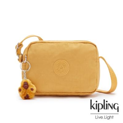 Kipling 鮮豔太陽黃簡約造型拉鍊方包-BETHANY