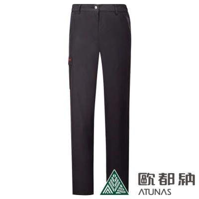 【ATUNAS 歐都納】女款戶外休閒防水透氣天鵝絨保暖長褲A-PA1823W黑