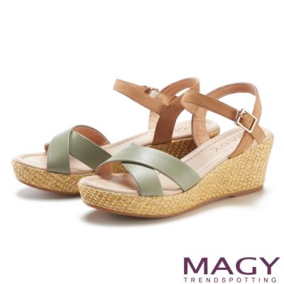 MAGY 真皮交叉雙色編織楔型高跟 女 涼鞋 綠色