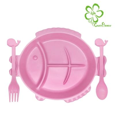 Cornflower 嘟嘴魚兒童餐盤+鯨魚叉匙組 (無毒玉米食器)