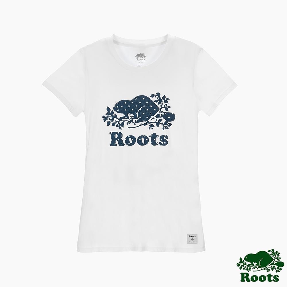 女裝Roots 加拿大國慶海狸印花短袖T恤-白色