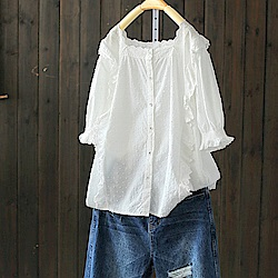 鈎花鏤空蕾絲花邊蝴蝶純棉白色襯衫中袖上衣-設計所在