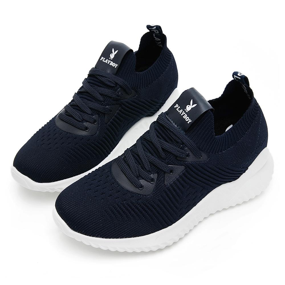 PLAYBOY 針織襪套式增高休閒鞋-藍-Y5732FF