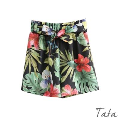 花朵印花綁帶打摺短褲 TATA-(L/XL)