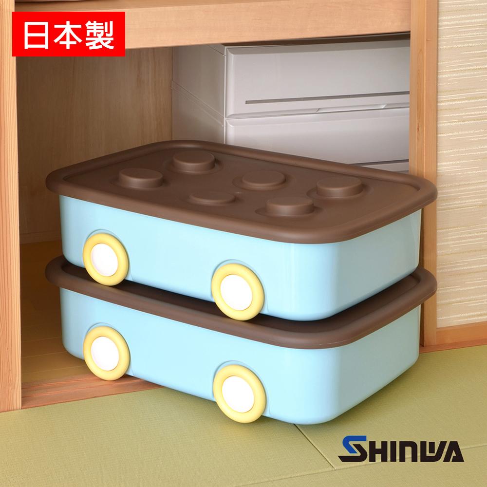 【nicegoods】日本製Shinwa伸和 玩具衣物可疊固定收納箱XL-附輪-2入