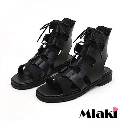 Miaki-涼鞋街頭時尚軟底羅馬鞋