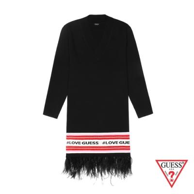 GUESS-女裝-羽毛針織連身裙-黑