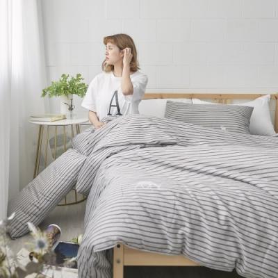 BUHO 天然嚴選純棉雙人加大四件式兩用被床包組(浮生映流)